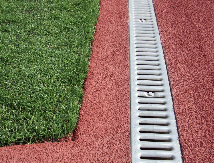 Pro l channel drain system sportsedge for Surface drainage system